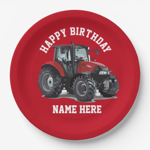 Red Tractor Farming Birthday Plates