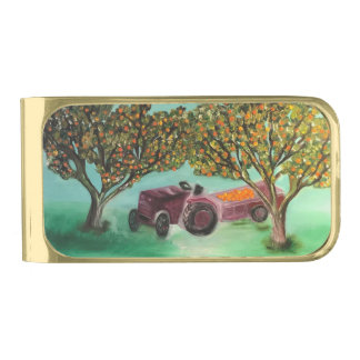 Red tractor gold finish money clip