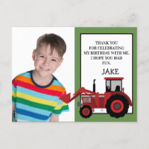 Red Tractor Green Birthday Photo Thank You Postcard
