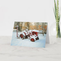Red Tractor In Snow Card