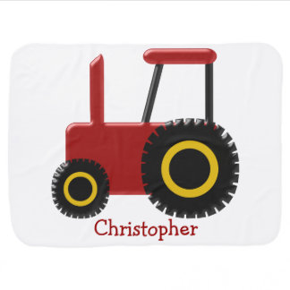 Red Tractor Just Add Name Stroller Blanket