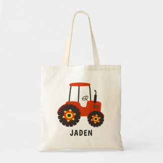 Red Tractor Kids Farm Barnyard Personalized Tote Bag