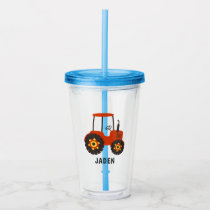 Red Tractor Kids Personalized Farm Barnyard Acrylic Tumbler