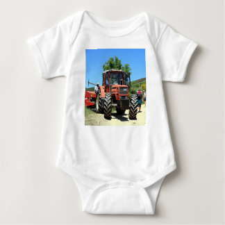 Red Tractor on El Camino, Spain Baby Bodysuit