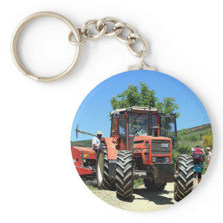 Red Tractor on El Camino, Spain Keychain
