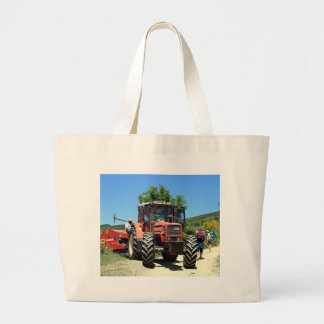 Red Tractor on El Camino, Spain Large Tote Bag
