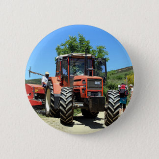 Red Tractor on El Camino, Spain Pinback Button