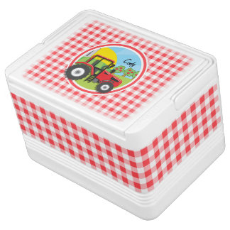 Red Tractor on Red and White Gingham Cooler