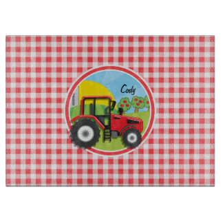 Red Tractor on Red and White Gingham Cutting Board