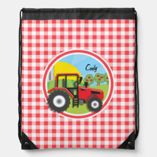 Red Tractor on Red and White Gingham Drawstring Bag