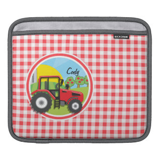 Red Tractor on Red and White Gingham Sleeve For iPads