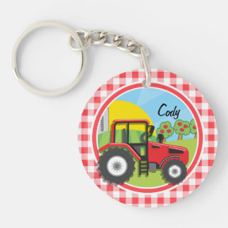 Red Tractor on Red and White Gingham Key Chains