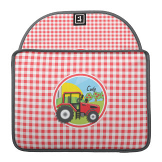 Red Tractor on Red and White Gingham MacBook Pro Sleeves