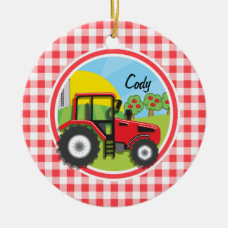 Red Tractor on Red and White Gingham Double-Sided Ceramic Round Christmas Ornament