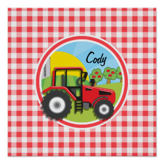 Red Tractor on Red and White Gingham Print