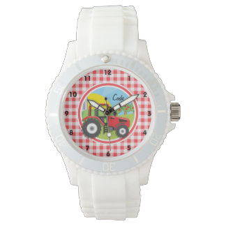 Red Tractor on Red and White Gingham Watch