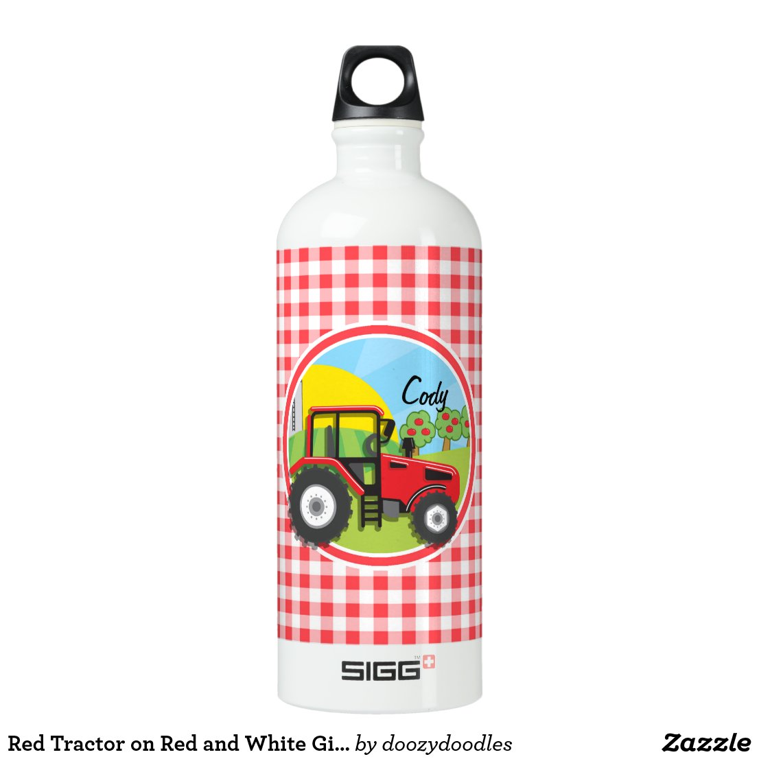 Red Tractor on Red and White Gingham Water Bottle