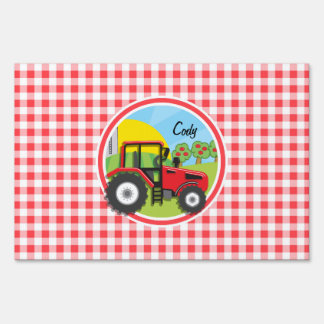 Red Tractor on Red and White Gingham Yard Sign