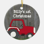 Red Tractor Ornament: Add Photo & Year