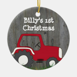 Red Tractor Ornament: Add Photo & Year Double-Sided Ceramic Round Christmas Ornament