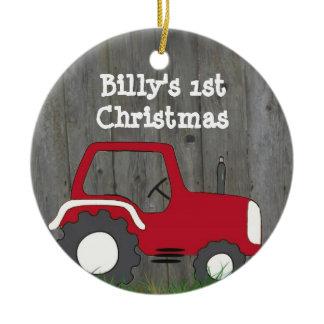 Red Tractor Ornament: Add Photo & Year Ceramic Ornament
