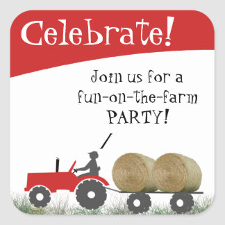 Red Tractor Party Envelope Seal Square Sticker