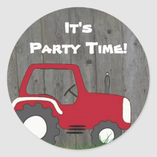Red Tractor Party Envelope Seals Classic Round Sticker