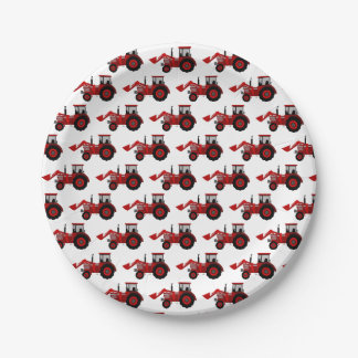 Red Tractor Party Paper Plate