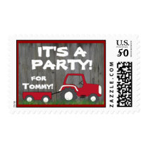 Red Tractor Party Postage: Name in Cart Postage