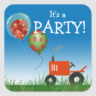 Red Tractor Party Sticker
