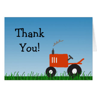 Red Tractor Party Thank You Note Stationery Note Card