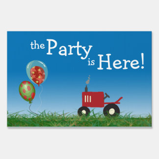 Red Tractor Party Yard Sign
