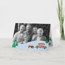 Red Tractor Photo Christmas Card