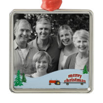 Red Tractor Photo Christmas Ornament