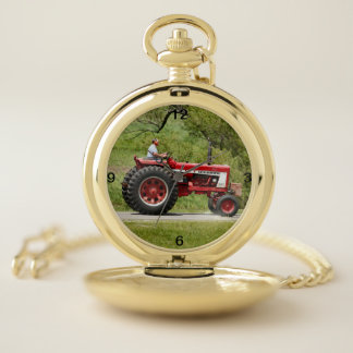 Red Tractor Pocket Watch