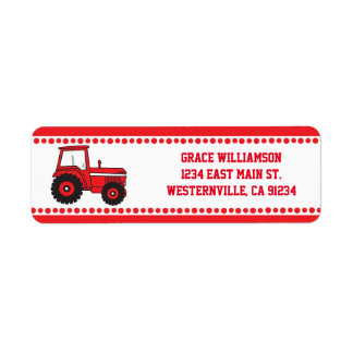Red Tractor Return Address Labels