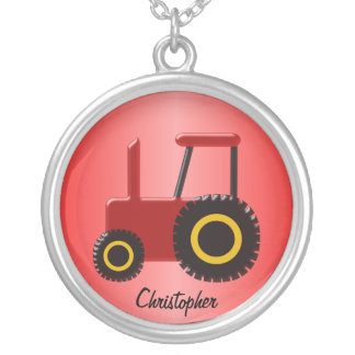 Red Tractor Silver Plated Necklace