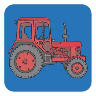 Red Tractor Square Sticker