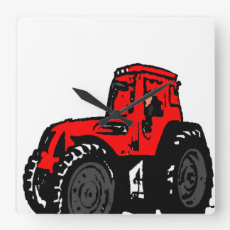 Red Tractor Square Wall Clock