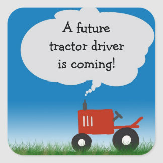 Red Tractor Sticker: envelope seal for baby shower Square Sticker