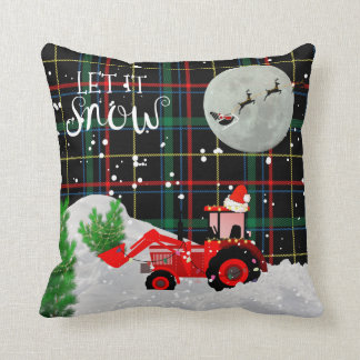 RED TRACTOR Tartan Green Red Xmas Decor Throw Pillow