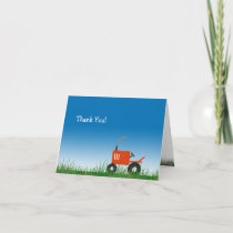 Red Tractor Thank You Note Card