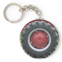 Red tractor Tire Keychain