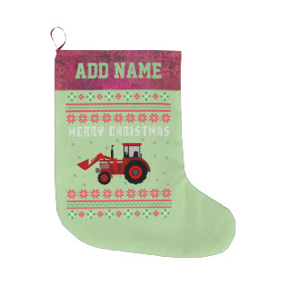 Red Tractor Ugly Christmas Sweater Large Christmas Stocking