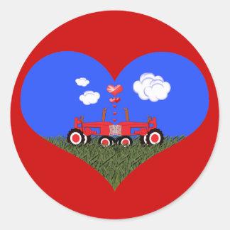 Red Tractor Valentine's Day Round Stickers