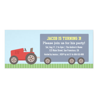 Red Tractor Vehicle Birthday Party Invitations