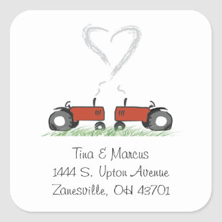 Red Tractor Wedding Envelope Seal Square Sticker
