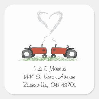 Red Tractor Wedding Envelope Seal Sticker