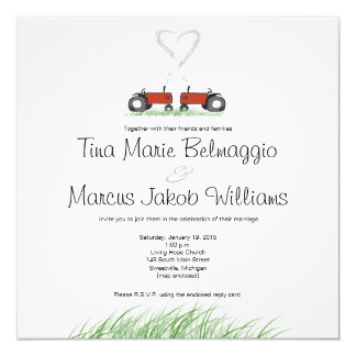 Red Tractor Wedding Invitation