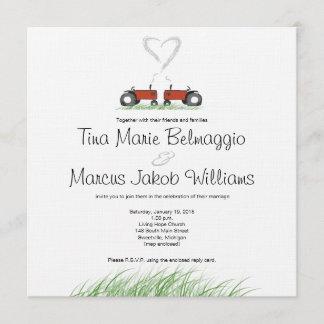 Red Tractor Wedding Invitation